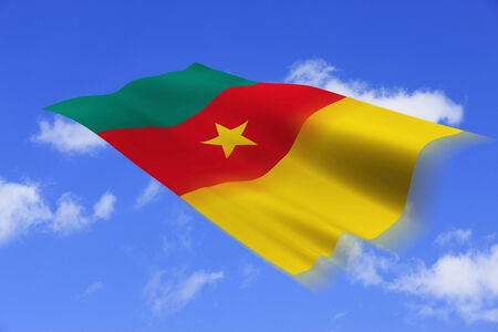 cameroonian: Cameroonian national flag and blue sky background.