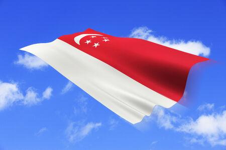 Singaporean national flag and blue sky background.