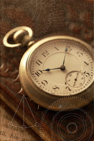 Pocket watches and books Stockfoto
