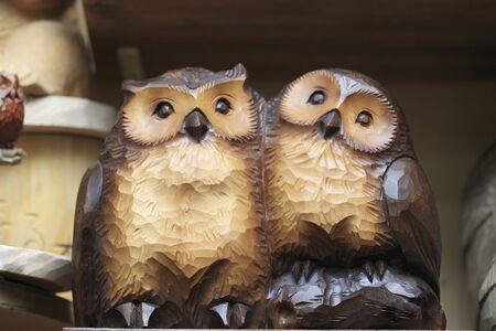carved: Carved wooden owl