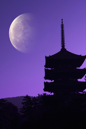 the believer: The moon and the five-story pagoda
