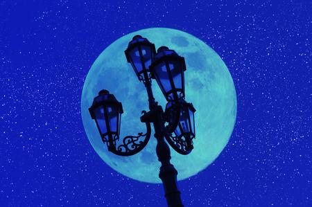 streetlights: Moon and streetlights