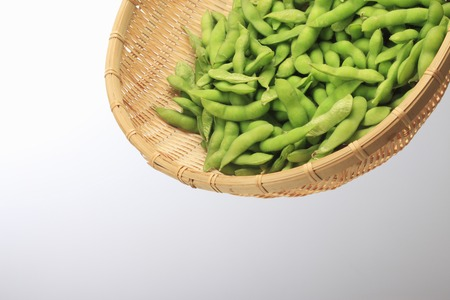 edamame: Edamame and bamboo basket Stock Photo
