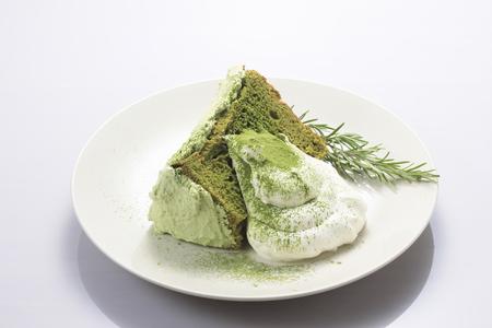 抹茶シフォン ケーキ 写真素材