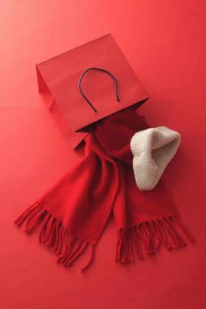 red scarf: Red scarf and hat and paper back