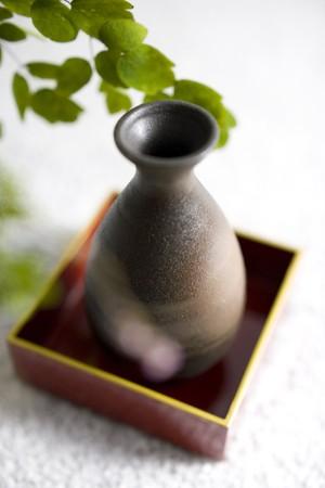 sake: Thalictrum rochebrunianum y botella de sake  Foto de archivo