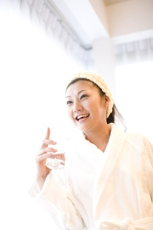 Japanese woman after taking a bath photo