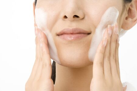 washing face: Bubble on the Japanese womans face