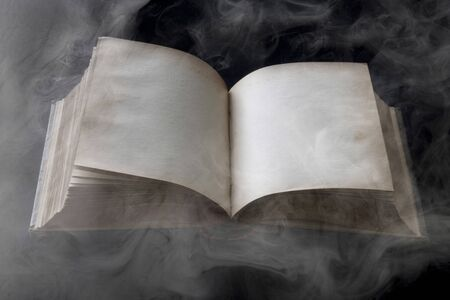 living thing: Old book opened to blank pages isolated in the smoke Stock Photo
