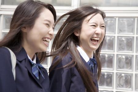 High school girls smile