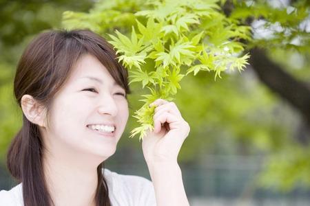 gratification: Fresh green and women Stock Photo