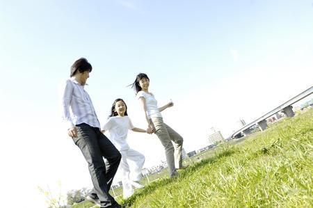 草原の家族 写真素材