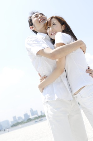 Couple hugging photo