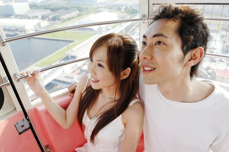 hook up: Couple in the viewing stations Stock Photo