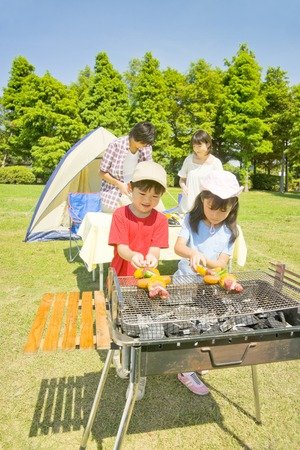 pleasant emotions: Prepare barbecue for family