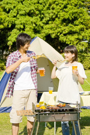 ayu: Couples eat barbecue of Ayu