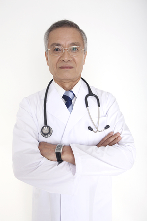 fold ones arms: Male doctor that his arms folded