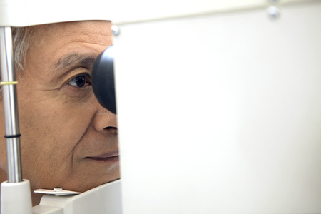 目の検査を受ける人 写真素材