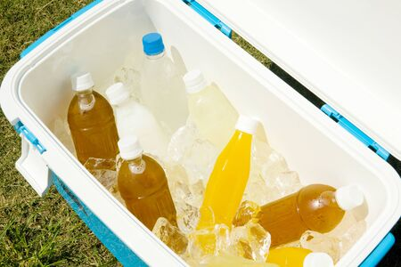 icebox: Cold drink that went into the ice box Stock Photo