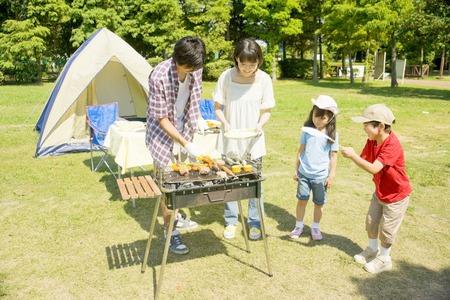 Families enjoy the BBQ