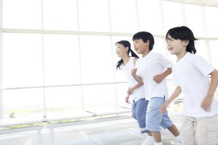 woman run: Children run Stock Photo