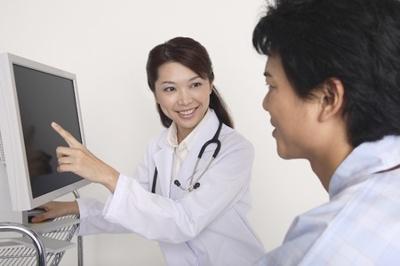 explained: Joy be explained to the patient Stock Photo