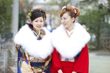 early 20s: 2 women of smile kimono figure