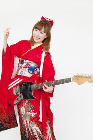 new age music: Women kimono figure with amulet
