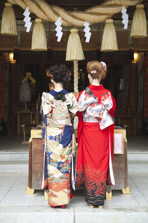 2 women kimono figure to visit Stock Photo