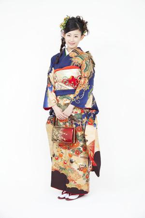 Woman smiling in furisode kimono