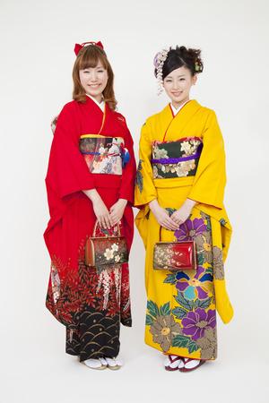 early 20s: Two women kimono appearance of smile Stock Photo
