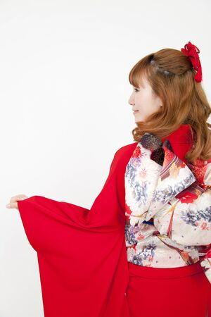 early 20s: From behind the woman of kimono wearing