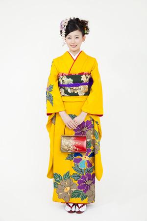 early 20s: Womens kimono appearance of smile Stock Photo