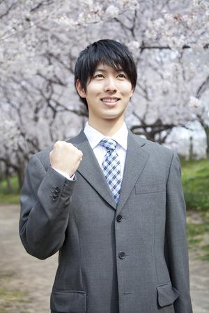 wnętrzności: Businessman to the guts pose with cherry trees