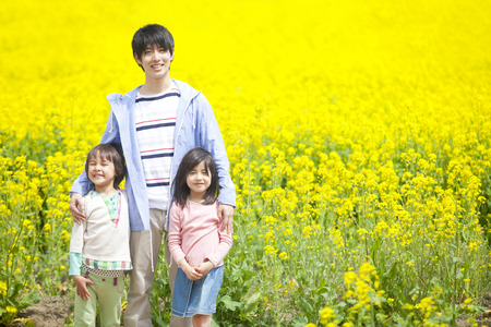 Parent and child to smile in the rape fields