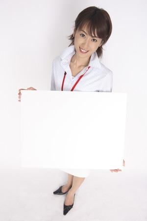exhilaration: Business Lady with a message board Stock Photo