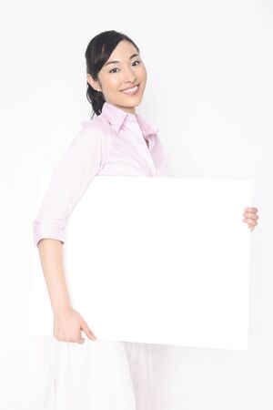 gratification: Business Lady with a message board Stock Photo