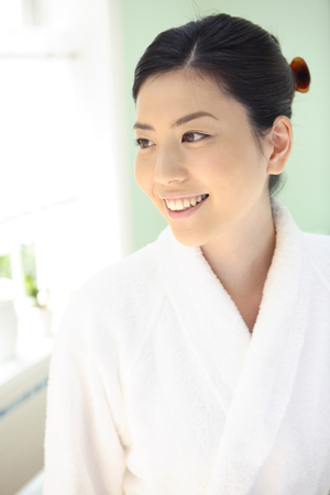 house robe: Women after the bath Stock Photo