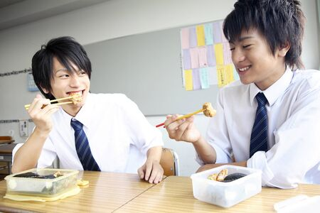 Male high school students to eat lunch