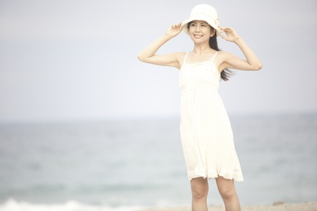 one piece dress: Woman with Hat