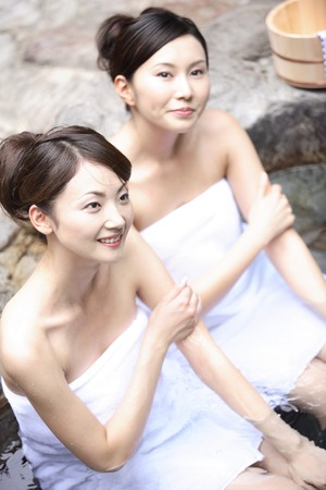 openair: Women who are in the open-air bath