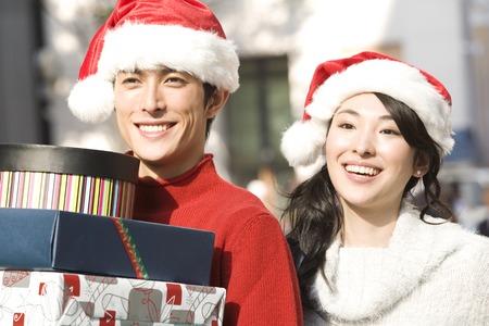 christmas hats: Couple wearing Santa Hat