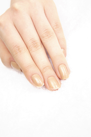 nailcare: The hands of the women who had the nail Stock Photo