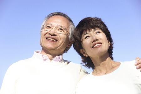 mutually: Senior couple mutually asked the shoulder Stock Photo