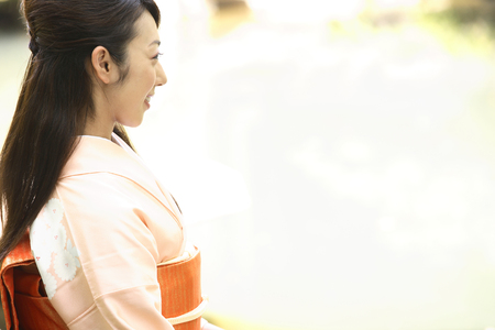 lean over: Kimono woman portrait