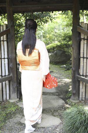 rear view: Rear View of kimono woman