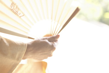 doings: Hand kimono woman fan  with a sense