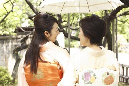 doings: Rear View of two kimono women with parasols Stock Photo