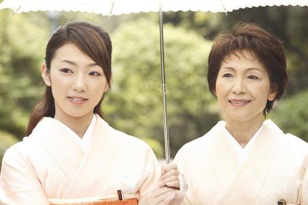 Two kimono women who parasols Stock Photo