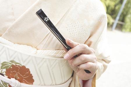 doings: Hand kimono woman with fan